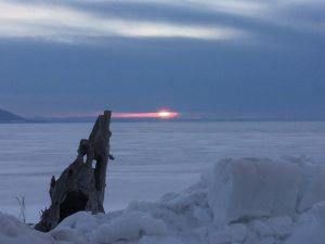 北海道北見市 サロマ湖の夕日
